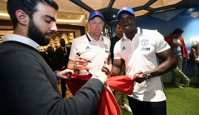 Dwight Yorke and former Manchester United team-mate Peter Schmeichel at a recent event in Dubai. Photograph: Tom Dulat/Getty Images
