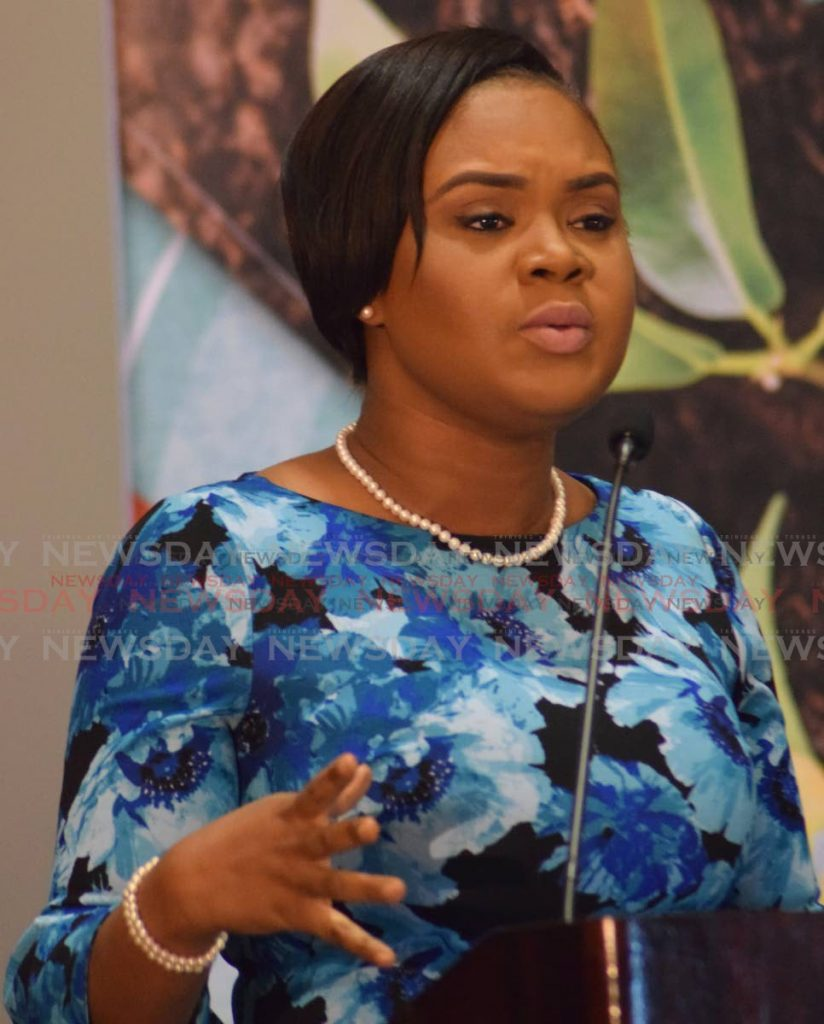 Minister of Sport and Youth Affairs Shamfa Cudjoe speaking during a recent event. PHOTO BY VIDYA THURAB. - Vidya Thurab
